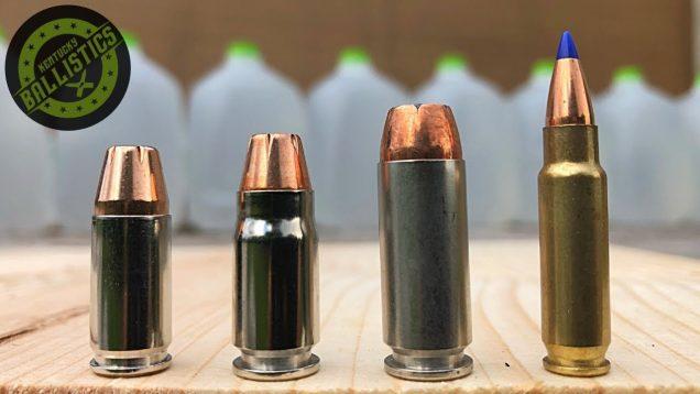 9mm vs .357 Sig vs 10mm vs 5.7x28mm vs Water Jugs