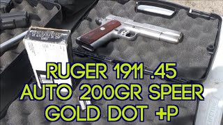 Ruger 5″ 1911 45 Auto Speer 200gr +p Gold Dot Review