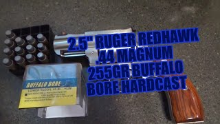 Ruger Redhawk .44 Mag 2.5″ Shooting Buffalo Bore 255gr Keith Gas Check Low Recoil Review