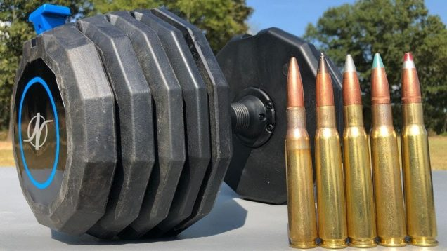 50 BMG vs Adjustable Dumbbell ?