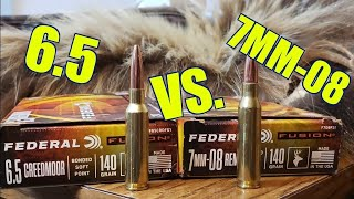 6.5 Creedmoor vs. 7mm-08 Remington 140GR Federal Fusion Pork and Ballistics Gel Test