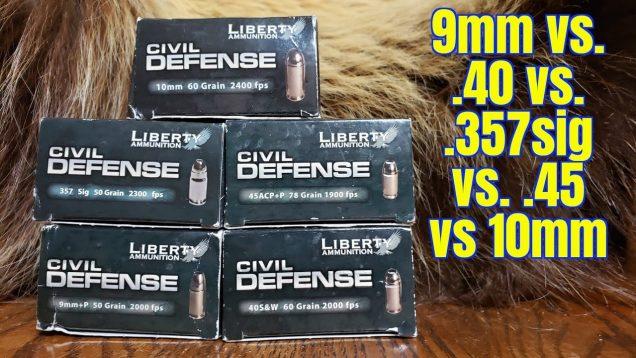 9mm vs. 40 S&W vs. 357 Sig vs. 45 Auto vs 10mm Liberty Ammunition Short Barrel Ballistics Gel Test