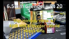 6.5mm Grendel Pt20 -Reloading to Range  w/95gr Hornady Vmax, 8208 XBR, & Shooters World Match Rifle