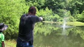"Country boy skipping rocks ""actually bullets"""