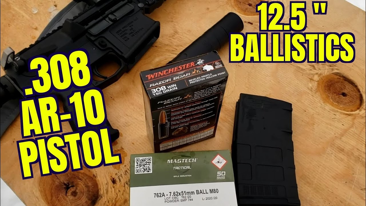 12.5″ AR-10 Pistol .308win Ballistics