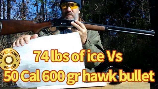 600 gr Hawk bullet versus 74 pounds of ice, lever action elephant rifle