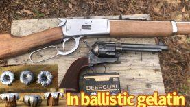 DeepCurl Colt 45 vs ballistic gelatin, 1873 Colt copy & Rossi 92