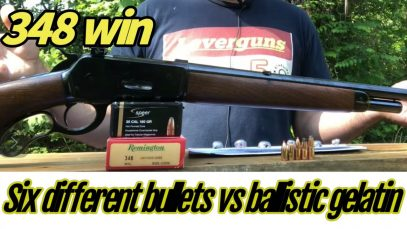 Model 71, 348 Win 6 different bullets tested in ballistic gelatin