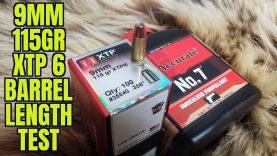 9mm Hornady 115gr XTP 6 Barrel Length Test