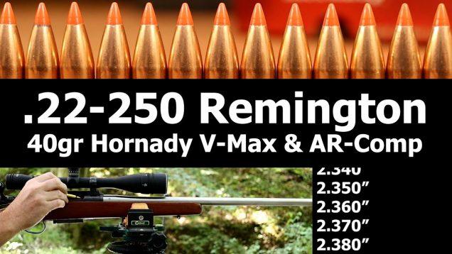 .22-250 Rem. – 40gr V-Max seating depth tests with AR-Comp
