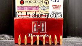 Hornady 62g fmjbt + H Benchmark 10, 5 Shot Groups